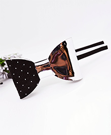Little Tresses Partywear Dotted Bow Double Tone Hairband - Black & Silver