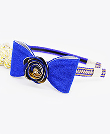 Little Tresses Shimmer Bow With Flower Center Hairband - Blue