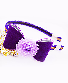 Little Tresses Shimmer Bow With Flower Center Hairband - Purple