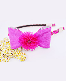 Little Tresses Shimmer Bow With Flower Center Hairband - Dark Pink