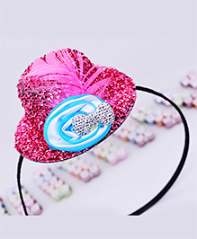 Little Tresses Partywear Hat With Feather Hairband - Pink