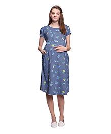 Mamma's Maternity Printed Maternity Dress - Light Blue