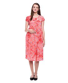 Mamma's Maternity Flowery Printed Maternity Dress - Orange