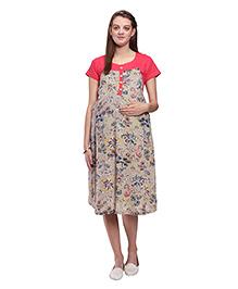 Mamma's Maternity Short Sleeves Rayon Dress - Peach