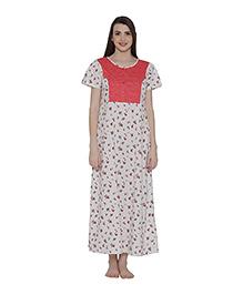 Clovia Short Sleeve Cotton Floral Print Maternity Nighty - White & Pink