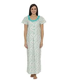 Clovia Short Sleeves Floral Print Maternity Nighty - Green
