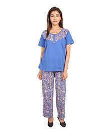 9teenAGAIN Short Sleeve Cotton Maternity Night Suit Set - Royal Blue