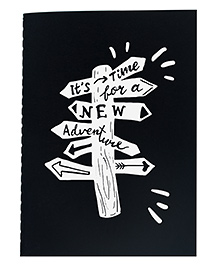 The Crazy Me A6 Thread Bound Diary New Adventure Print - White Black