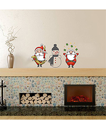 Orka Digital Printed Santa & Snow Man Design Wall Sticker - Multi Colour
