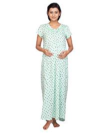 Kriti Short Sleeves Maternity Nursing Nighty - Light Green
