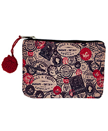 The Crazy Me Multi Utility Pouch Vintage Stamps Print - Multi Colour