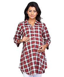 Kriti Three Fourth Sleeves Maternity Check Tunic - Red