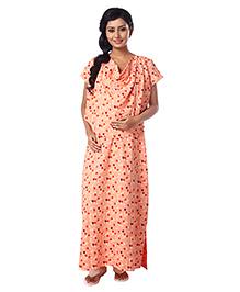 Kriti Half Sleeves Maternity Nursing Nighty Floral Print - Peach