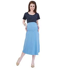 MomToBe Half Sleeves A-Line Maternity Dress - Blue