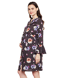 Oxolloxo Floral Bell Sleeve Maternity Dress - Brown