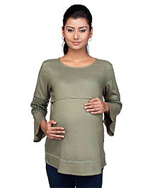 Kriti Three Fourth Sleeves Maternity Nursing Top - Green