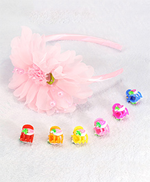 Pihoo Flower Hair Band With Clips - Multicolor - 1872133