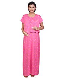 Kriti Half Sleeves Maternity & Nursing Nighty Floral Print - Pink