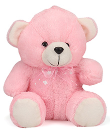 Play Toons Teddy Bear Soft Toy With Neck Bow Pink - 20 Cm