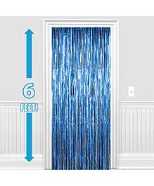 Party Propz Decorative Foil Fringe Party Curtain 1 Piece - Metallic Blue
