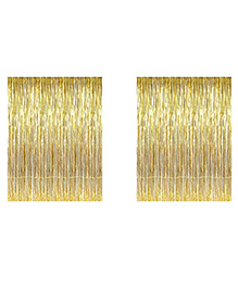 Party Propz Decorative Foil Fringe Party Curtain Metallic Golden & Balloons - Pack Of 62