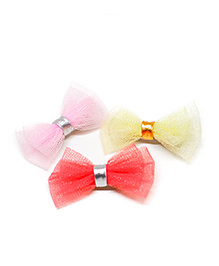 Pigtails And Ponys Net Alligator Clip Pack Of 3 - Pink Yellow & Red