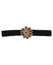 Funkrafts Flower & Beads Lace Headband - Black
