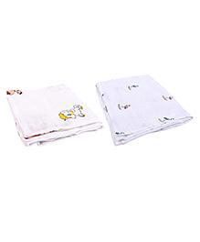 Mom's Home Organic Cotton Muslin Swaddle Cum Bath Towel Flamingo & Unicorn Print Pack Of 2 - White