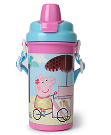 Peppa Pig Happy & Know It Water Bottle With Flip Open Lid Pink Blue - 500 Ml