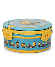 Minions Round Lunch Box With Handle - Blue & Yellow