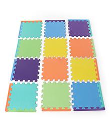 Funjoy Plain Color Puzzle Floor Mat Multicolor - 12 Pieces