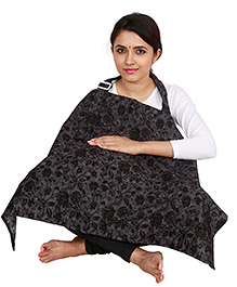 Lulamom Feeding & Nursing Cover Floral Print - Black