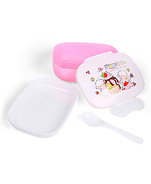 Lunch Box With Spoon Sheep Print - Pink