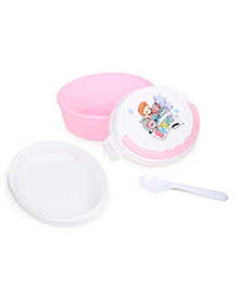 Lunch Box With Spoon - White & Pink