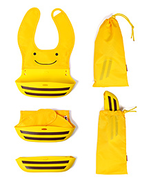Baby Oodles Foldable Pouch Style Silicone Bib - Yellow