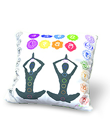 Baby Oodles Cushion With Inner Filler Yoga Print - White