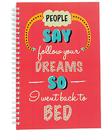 The Crazy Me Dreams Print Notebook A5 Size - Red