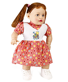 Speedage Doll In Polka Dots Dress Pink - Height 52.5 Cm