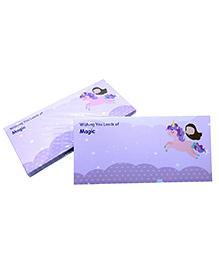 Baby Oodles Gift Envelope Flying Unicorn Print Purple - Pack Of 6