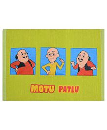 Saral Home Motu Patlu Theme Cotton Chenille Rug - Green