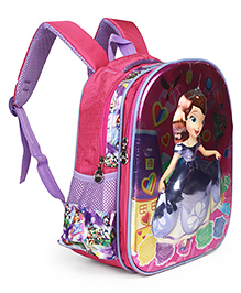 Disney Sofia The First School Bag 3D Embossed Design Purple - Height 14 Inches