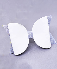 Little Tresses Shimmer Double Bow Allligator Clip - White & Silver