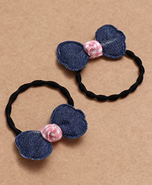 Babyhug Hair Rubber Band With Bow Pack Of 2 - Blue Pink