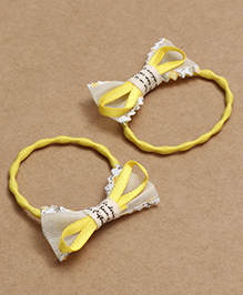 Babyhug Hair Rubber Band With Bow Pack Of 2 - Yellow