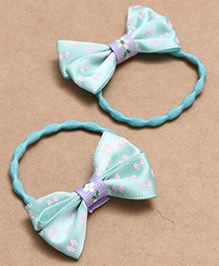 Babyhug Hair Rubber Band With Bow Pack Of 2 - Blue