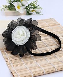 Babyhug Elastic Headband With Flower Applique - Black