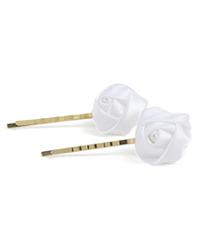 Babyhug Hair Pins With Floral Applique Pack Of 2 - White
