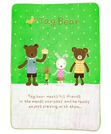A Homes Grace Kids Blanket Bear Design - Green