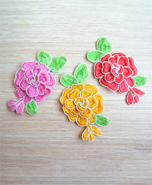 Pretty Ponytails Embroidered Hair Flowers Rose Hair Clips Gift Set - Red Pink Yellow & White