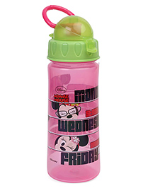 Disney Sipper Bottle Minnie Mouse Print Pink Green - 500 Ml